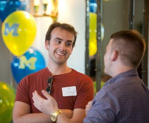 Students talk at Transfer Welcome Reception