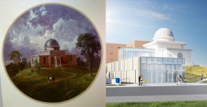 1854 painting of Detroit Observatory and 2019 rendering of addition under construction
