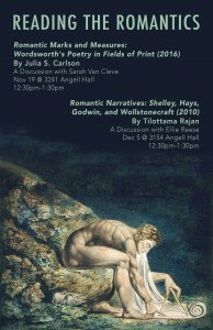 A poster for Reading the Romantics with an image of William Blake's 'Newton'