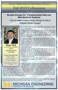 image of flyer for NERS Colloquium:  Professor Ning Li, Ultra Safe Nuclear Corporation