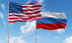 Photo of US and Russian Flags