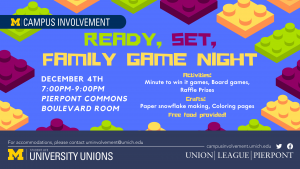 "An ad for Ready, Set, Family Game Night. The ad reads ""Ready, Set, Family Game Night. December 4, 7:00 - 9:00 pm, Pierpont Commons Boulevard Room. Activities include minute to win it games, board games, raffle prizes. Crafts include paper snowflake making, coloring pages. Free food provided!"""