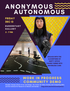 Event poster with photo of Katherine Behar and an art installation that resembles a road, with two desk chairs on wheels. Courtesy of Katherine Behar, Anonymous Autonomous, 2018–ongoing. Photograph: Sean Carroll.