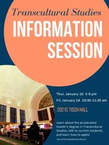 Transcultural Studies Information Session poster