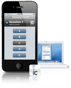 cell phone displaying iClicker app