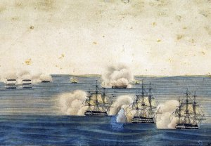 British Men o' War off Long Island, ca. 1814 by William Paine from U-M William L. Clements Library collection.