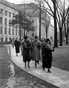 Students leaving classes at Angell Hall, 1935 - Michiganensian