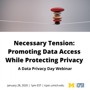 "Webinar announcement for ""Necessary Tension,"" a Data Privacy Day webinar from ICPSR"