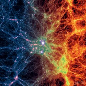 Dark matter density (left) transitioning to gas density (right). Credit: Illustris Simulations