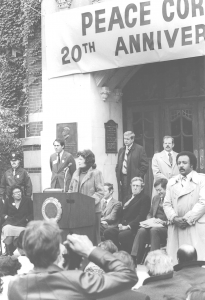 """Regent Sarah Goddard Power speaks in October 1980 during the 20th anniversary """"rededication"""" ceremony for the Peace Corps on the steps of the Michigan Union"""