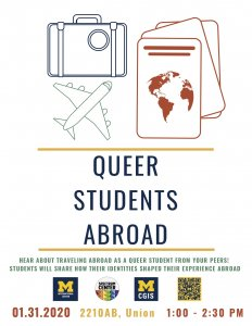 Queer Students Abroad will give attendees a chance to listen to queer people talk about how their identity has impacted their travel to other countries. Co-hosted by the Spectrum Center, Center for Global and Intercultural Studies, and the International Center