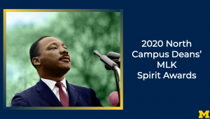 2020 North Campus Deans' MLK Spirit Awards with date, time, and location