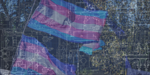 a transgender pride flag with the background of architectural blueprints
