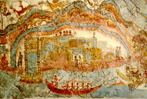 detail of the Miniature Fresco from the West House at Akrotiri, Crete