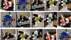 Objects held by robot hand.
