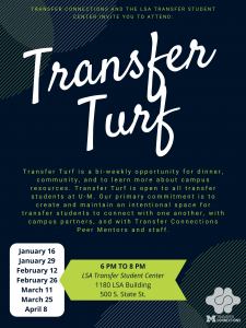 Transfer Turf is a bi-weekly opportunity for transfer students to gather for dinner, support, and friendship. Transfer Turf is from 6:00-8:00 p.m. in the LSA Transfer Student Center in 1180 LSA (500 S. State St.)
