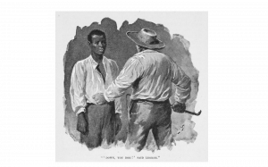 An 1897 illustration of Uncle Tom and Simon Legree from The Digital Public Library of America