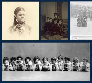 Collage of images of women from the exhibit
