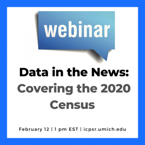 Webinar announcement for Data in the News Census webinar 2020