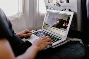 Using a laptop while traveling.