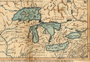 Map Detail of the Great Lakes (1755) - William L. Clements Library