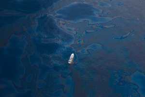 Aerial view of the BP Deepwater Horizon oil spill in 2010