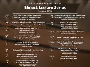 2020 ICPSR Blalock Lecture schedule