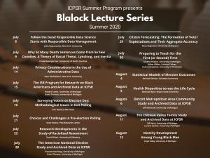 2020 ICPSR Blalock Lecture schedule