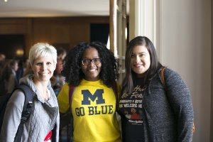3 graduate students at Rackham Fall Welcome