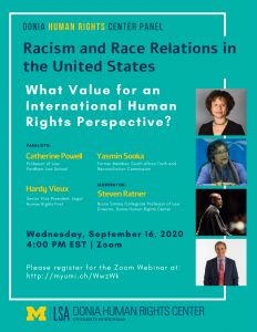 Donia Human Rights Center Panel. Racism and Race Relations in the United States: What Value for an International Human Rights Perspective?