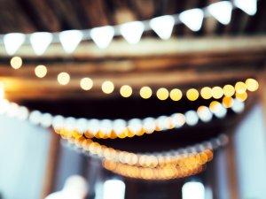 Overhead string lights hanging