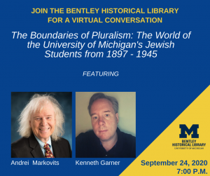Image of event poster, with title and pictures of authors Markovits and Garner.