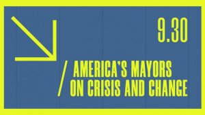 Mayor panel graphic green and blue