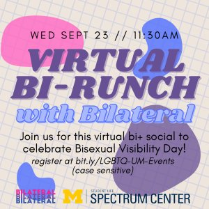 Join us for this virtual bi+ social to celebrate Bi Visibility Day! Hosted by the Spectrum Center and Bilateral.