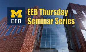 Biological Sciences Building with words EEB Thursday Seminar Series in yellow