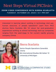 Sierra Scarlatta, Senior People Operations Generalist, Chime; BA International Studies; BA Italian '12