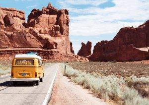 Van driving through Arizona