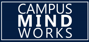 Blue and white rectangle logo that states Campus Mind Works
