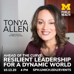 image of Tonya Allen smiling in her office at the Skillman Foundation