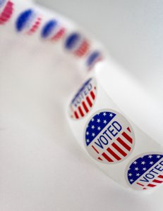 Roll of I Voted stickers on a white background. Photo by Element 5 Digital on Unsplash.
