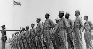 Montford Point Marine recruits at parade rest - 1943