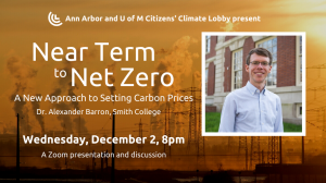 "Photo of smoke stacks and inset photo of Dr. Alex Barron with text ""Near Term to Net Zero: A New Approach to Setting Carbon Prices. Dr. Alexander Barron, Smith College"""