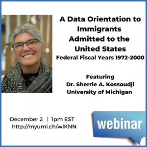 Announcement of Immigration data webinar ICPSR December 2020