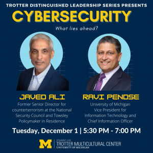 Image contains pictures of both the speaker, Javed Ali, and the moderator, Ravi Pendse. It contains the date and time for the event and the Trotter Logo.