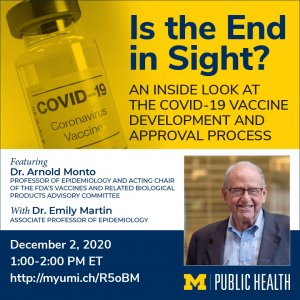 Is the End in Sight? Image of a bottle of vaccine and image of Dr. Arnold Monto