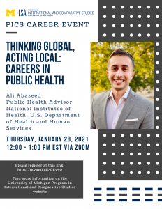 PICS Career Event. Thinking Global, Acting Local: Careers in Public Health