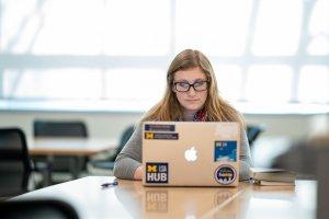 LSA student working on laptop