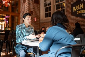 LSA student speaking with LSA alum