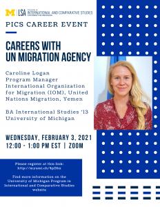 Caroline Logan, Program Manager, International Organization for Migration (IOM), United Nations Migration, Yemen; BA International Studies '13, University of Michigan