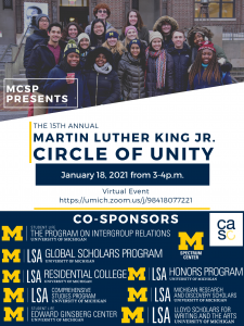 Flier for event, with a photograph of a multiracial group of students clustered around a large image of Martin Luther King.